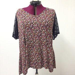 3XL TORRID Floral Lace Top with Embellished V Neck